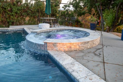 spa feature in Orange County residential swimming pool