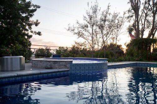 Orange County custom pool at sunset