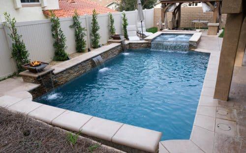 overhead view of residential pool built by Los Angeles pool builders