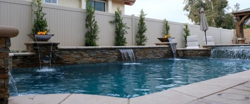 luxury LA residential pool with waterfall and fire features
