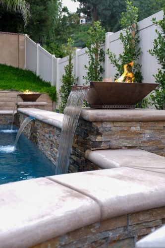 Los Angeles residential swimming pool with fire features